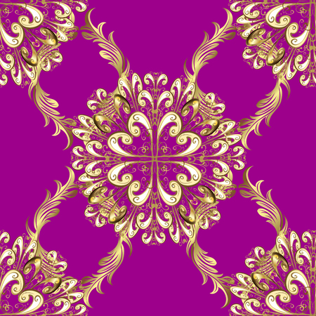 For your design, wallpaper. Golden seamless pattern on purple, beige and neutral colors with golden floral elements. Golden color seamless illustration. Vector geometric background.