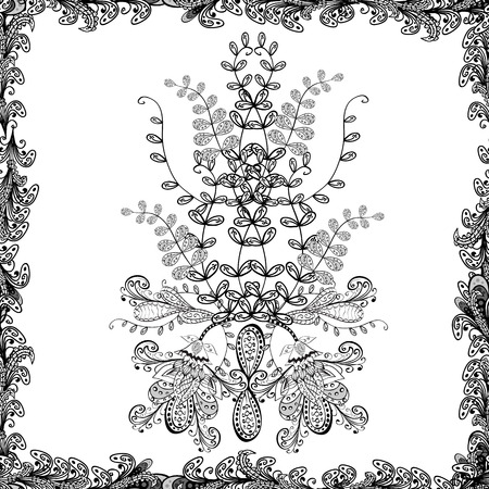 Seamless pattern Elegant decorative ornament for fashion print, scrapbook, wrapping paper, wallpaper. Images on a white, black and gray colors Vector illustration. Иллюстрация