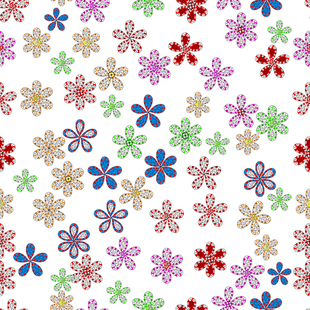 Colour Spring Theme seamless pattern Background. Flat Flower Elements Design. Seamless Floral Pattern in Vector illustration. Fancy fabric pattern.
