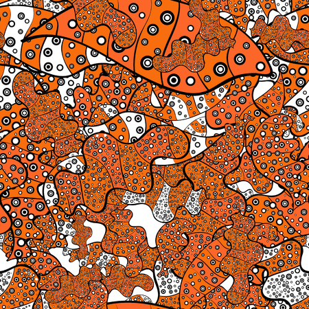 Gentle, doodles on orange, black, white, gray and brown colors. Abstract seamless vector pattern with hand drawn floral elements.
