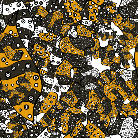 Flat elements. Design. Seamless pattern Print. Vector. Nice fabric pattern. Doodles gray, black, yellow, white and brown on colors. Illustration