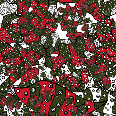 Vector. Seamless Beautiful fabric pattern. Doodles black, green and red on colors.