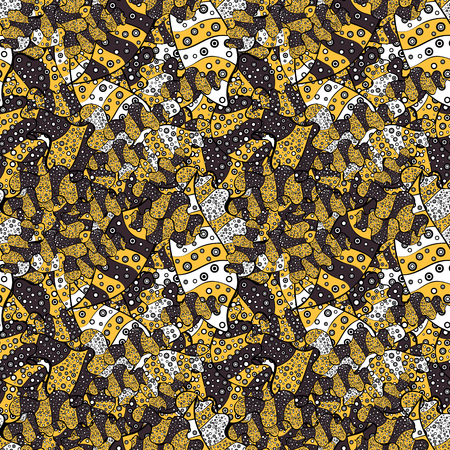 It can be used on wallpaper, wrapping boxes, mug prints, baby apparels etc. Vector. Seamless pattern Nice fabric pattern. Doodles pattern. Cute background. Yellow, black, purple, white, gray on colors
