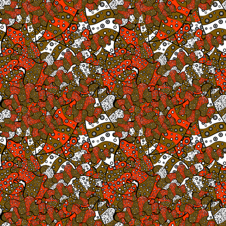 Nice background. Seamless Beautiful fabric pattern. It can be used on wallpaper, mug prints, baby apparels etc. Brown, black, orange, white and gray on colors. Doodles cute pattern. Vector - stock.