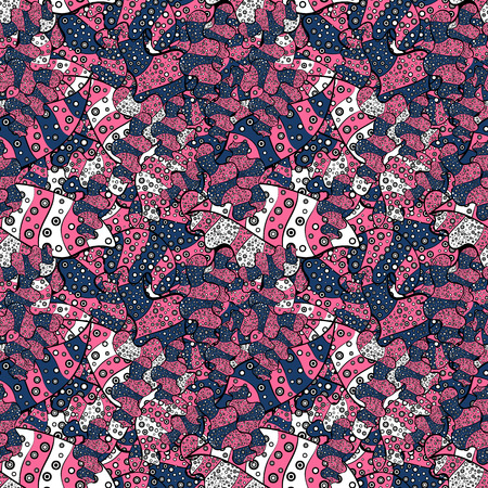 Ñolorful pattern. Vector illustration. Seamless Flat design with abstract doodles on pink, black, blue, white and gray colors background.