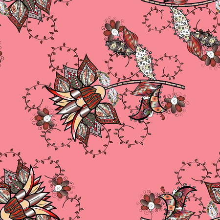 Pretty vintage feedsack pattern in small pink, black, brown, gray flowers. Floral sweet seamless background for textile, fabric, covers, wallpapers, print, wrap, scrapbooking, quilting, decoupage. Banque d'images - 103400910