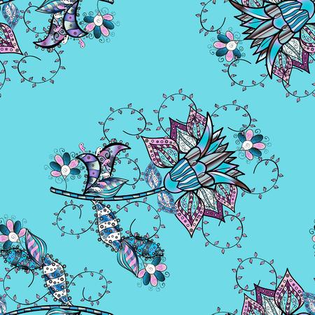 Flat Flower Elements Design. Seamless pattern Fashionable fabric pattern. Colour Spring Theme seamless pattern Background. Cute floral elements. Vector illustration.