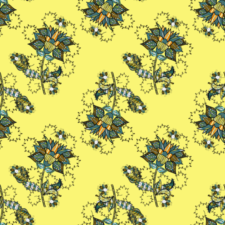 Of doodle elements. Seamless flower pattern can be used for wallpaper, website background, wrapping paper, invitation, flyer, banner or website. Hand drawn Vector illustration.  イラスト・ベクター素材