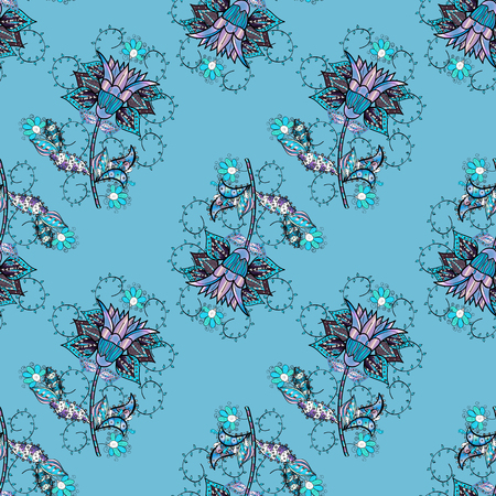 Gentle, spring floral on blue, black, neutral and gray colors. Tender seamless pattern with flowers. Vector illustration. Vector floral illustration in vintage style.
