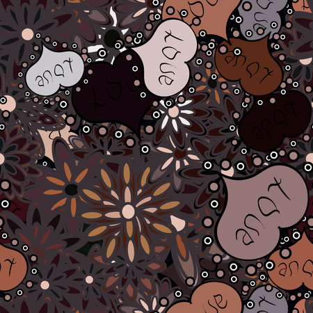 Valentine:s day. Baby background with colorful hearts. Vector sketch. Hearts seamless pattern. Flat background for design. Wrapping paper. Sketch heart elements on brown, black and neutral colors. Ilustração