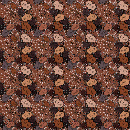 Love and Holiday theme. Happy Valentines day. Vector illustration. Seamless pattern with realistic beautiful brown, black, neutral, orange and gray heart.