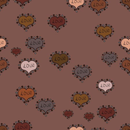 Valentines day seamless background. Vector illustration. Unusual designs. Cute hearts love on brown, black and beige colors on nice background.