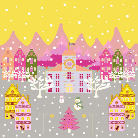 Vector cartoon drawing of Christmas suburban houses with making a snowman. Illustration on yellow, gray and pink colors. Vector illustration.