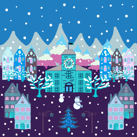 Panorama. Fairy houses on blue, violet and neutral colors. Christmas village of Santa Claus. Vector illustration.