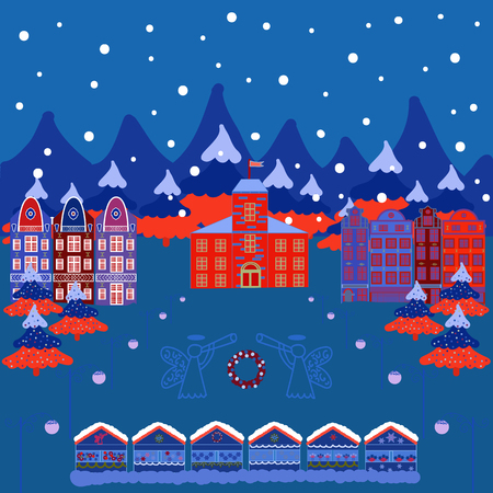 Vector with houses and wild forest life with mountans. Picture on blue, red and white colors. Vector illustration. Can be printed and used as wrapping paper, wallpaper, textile, fabric, etc.