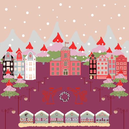 Vector illustration. Vector cartoon drawing of Christmas suburban houses with making a snowman. Illustration on neutral, purple and gray colors.