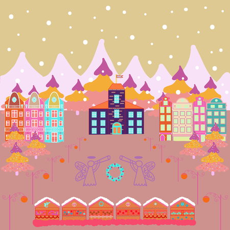 Vector cartoon drawing of Christmas suburban houses with making a snowman. Illustration on pink, beige and neutral colors. Vector illustration.