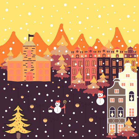Vector illustration. Panorama on yellow, violet and orange colors. For design background. A fairytale village with bright houses and trees, hills, mountans, snowman. Ilustracja