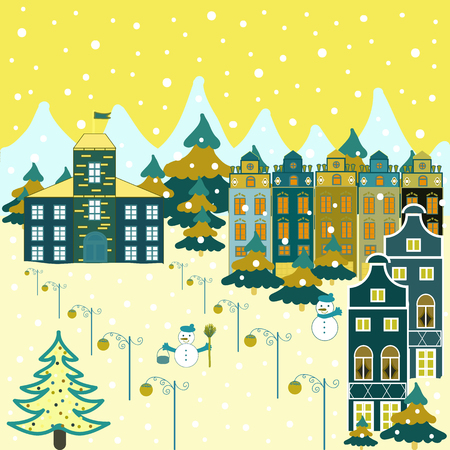 Colorfil landscape for textile, wallpaper, fabric. Vector. Cute houses and trees on yellow, beige and blue colors background. Scandinavian style nature illustration.