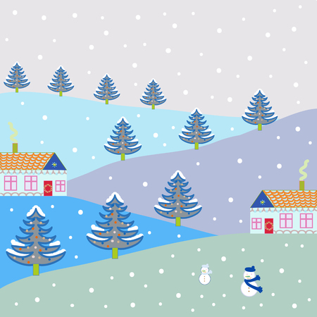 Colorful bright houses with trees on the hills. Buildings on neutral, gray and blue colors. Vector illustration.