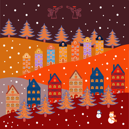 Cute nature landscape concept on blue, red, orange, purple and neutral colors. Perfect for kids fabric, textile, nursery wallpaper. Colorful pattern with houses, trees and mountains.