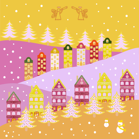 Cloudy winter landscape. Mountain landscape. Lonely house on a hill. Winter. Vector. Christmas illustration on neutral, magenta, pink, white and yellow colors.