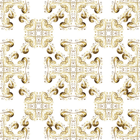 Seamless golden pattern. Vector oriental ornament. Golden pattern on white, beige and brown colors with golden elements.