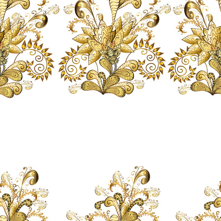 Traditional classic vector golden seamless pattern. Golden elements on white and yellow colors. Seamless oriental ornament in the style of baroque.