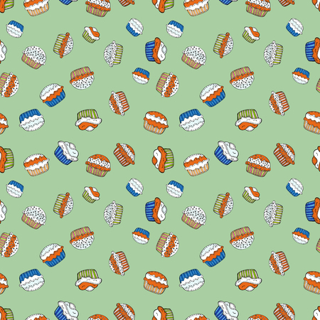 Wrapping paper. Seamless with cupcakes. Vector illustration. For food poster design on neutral, white, orange, black and gray. Çizim