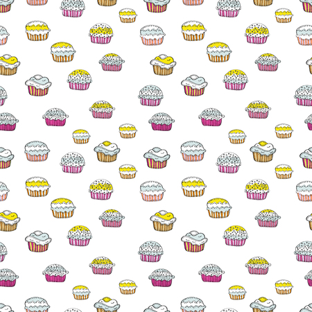 Vector illustration. Seamless with cupcake. For food poster design on white, gray, black, yellow and pink. Wrapping paper. Illustration