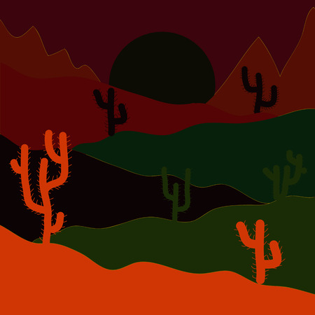 Vector illustration. Sands with cactus. Wild cactus on deserts. Stylish gray, orange and black colors.