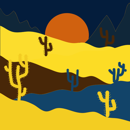 Background with cacti on yellow, blue and brown colors. Vector illustration. Fashionable print.