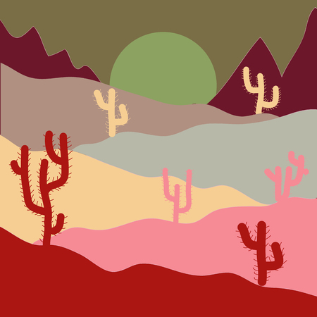 Vector illustration. Fashionable print. Background with cacti on red, neutral and brown colors.