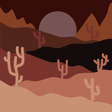 Vector illustration. Desert on brown, pink and black background for your web and mobile app design, Desert concept.