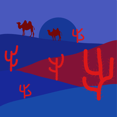 Vector illustration. Desert landscape with cactuses. Cartoon on blue, red and violet colors.