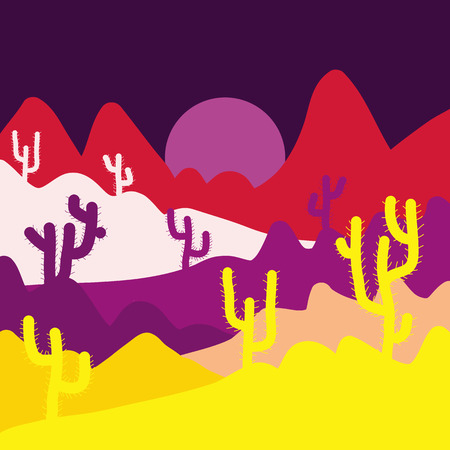 Fashionable print. Background with cacti on yellow, brown and purple colors. Vector illustration.