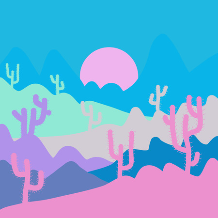 Landscape on blue, pink and gray colors. Deserts and Sand Dunes Landscape at Sunrise. Composition. Vector illustration.