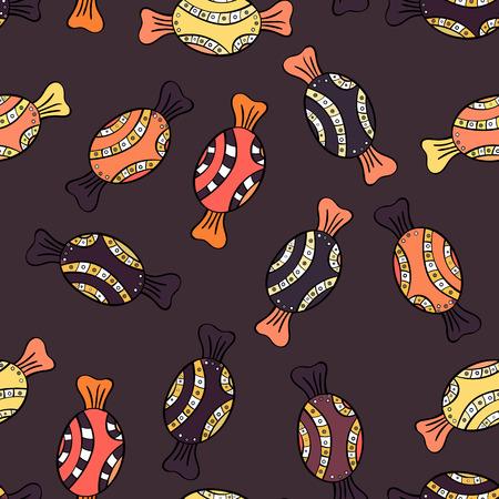 Sur les couleurs marron, noir et orange. Doodle de vecteur de bonbons. Modèle sans couture avec bonbons bonbons aquarelle.