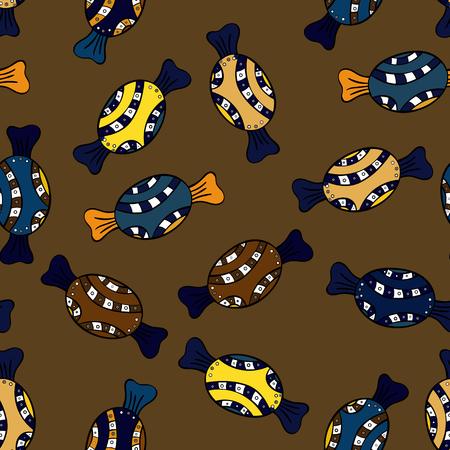 Conception colorée de saupoudrage de sucre, de bonbons ou de boulangerie sur un fond brun, noir et bleu. Modèle de fête de confettis lumineux vectorielle continue.