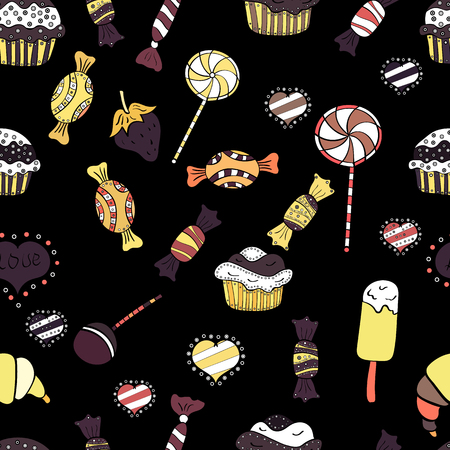 Seamless pattern of sweet candy on black, yellow and white colors. Vector illustration.  イラスト・ベクター素材