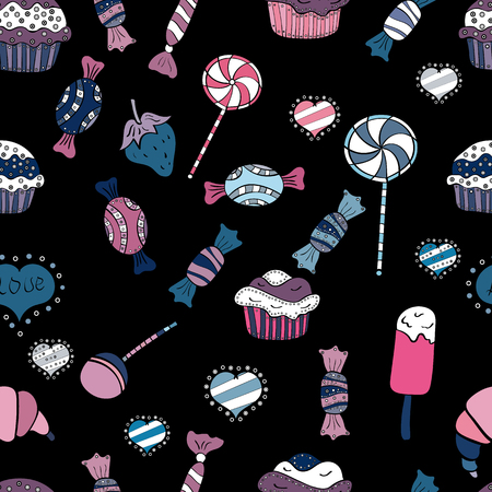 Seamless pattern with watercolor sweets candies, hand drawn isolated on a black, blue and white background. Vector illustration.  イラスト・ベクター素材