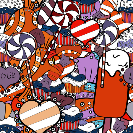 Illustration vectorielle. Magasin de friandises. Sans couture. Bonbons et bougies, dessins au trait.