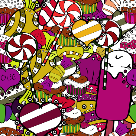 Cute cartoon colorful seamless vector pattern with candies and cotton candy. Candies on white, black and yellow colors. Vector. Illustration
