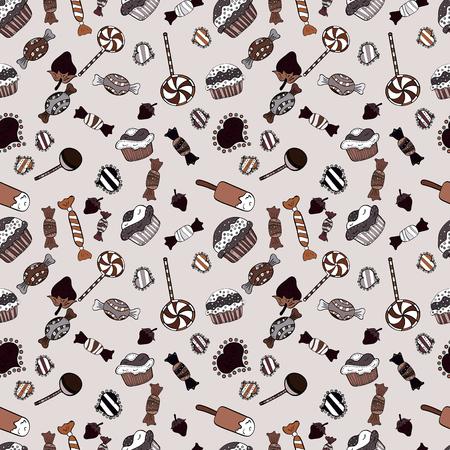 Sur les couleurs grises, noires et brunes. Vecteur. Bonbons colorés sans soudure.