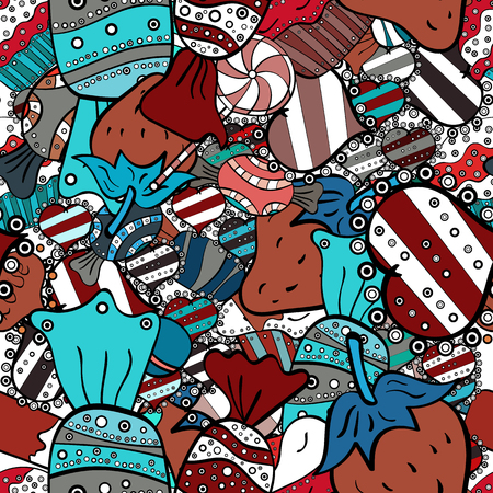 Seamless pattern of sweet candy on black, blue and white colors. Vector illustration.