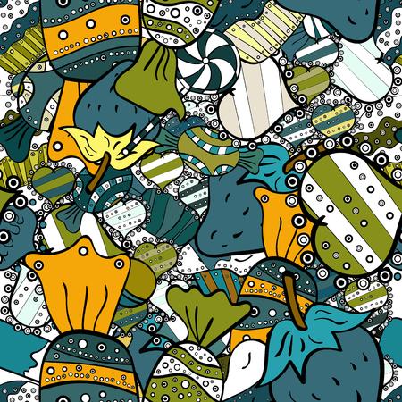 Modèle sans couture sucré mignon et coloré de bonbons sur fond noir, bleu et blanc. Version noir, bleu et blanc. Illustration vectorielle. Isolé.
