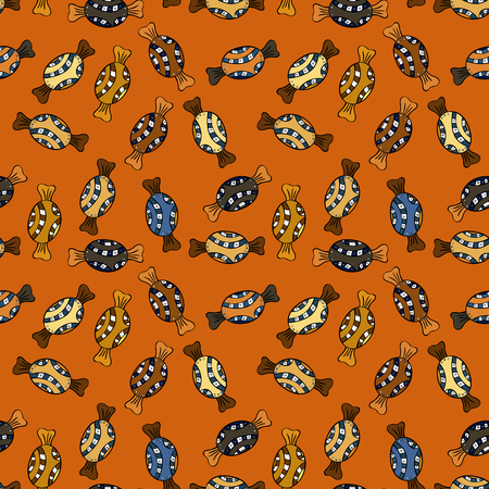 Colorful seamless pattern with candy abstract geometric style. Trendy vector background. On orange, black, yellow, brown and blue colors. Illustration