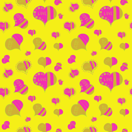 Vector illustration. Seamless Sixties style mod pop art psychedelic colorful Love text design. Cute hearts love on yellow, magenta, green, pink and beige colors on nice background.