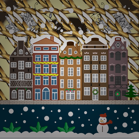 Village in Christmas, banner on background with snow and snowflakes. Greeting card. Vector illustration. Иллюстрация