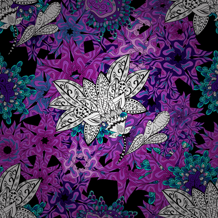 Vector floral pattern in doodle style with flowers. Gentle, spring floral on black, violet, blue, white and purple colors. Vector illustration. 向量圖像